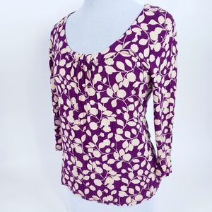 Womens 12 Stretch Floral Purple 3/4 Sleeve Top